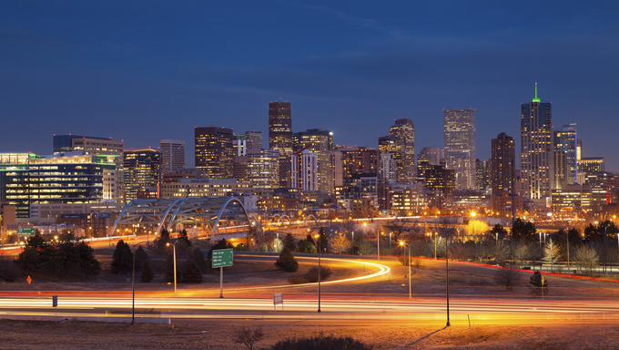 The magnificent Denver skyline at night.