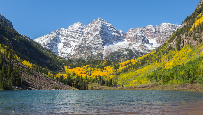 Maroon Bells in Aspen, Colorado during the Fall months.