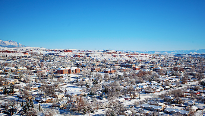 St. George covered in snow in the winter.
