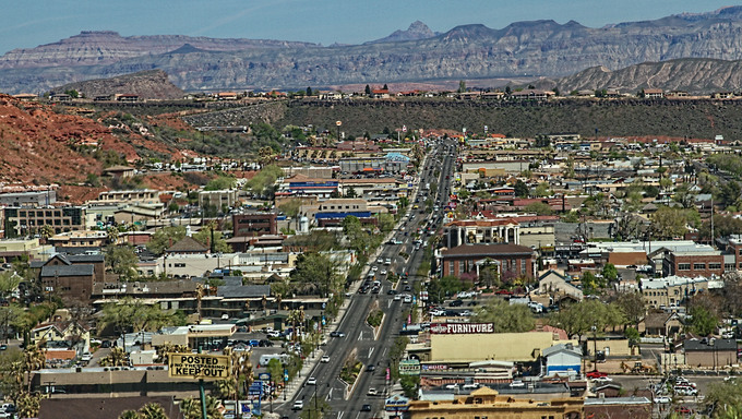 Downtown aerial view of St. George.