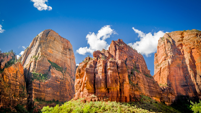 amazing landscape three patriarchs zion national park blue sky