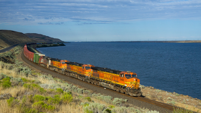 BNSF Railroad train passing through Kennewick.