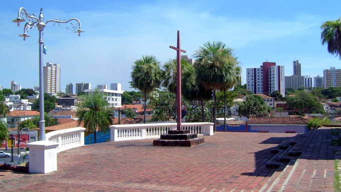 A cross at a local park located somewhere in Cuiaba, Brazil.