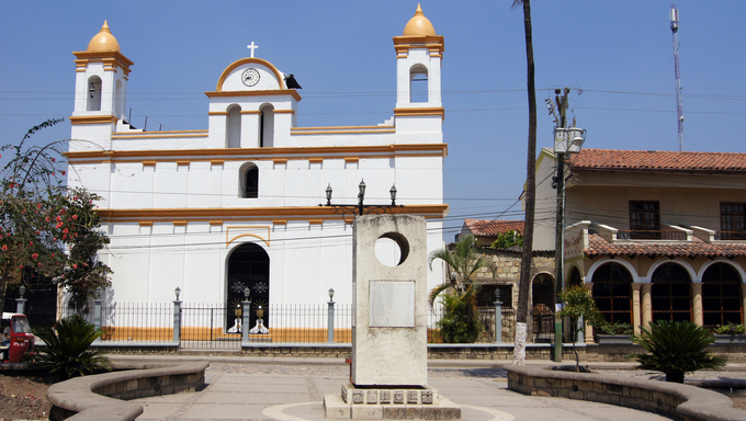 White old church on the main square of town Copan Ruinas in Honduras