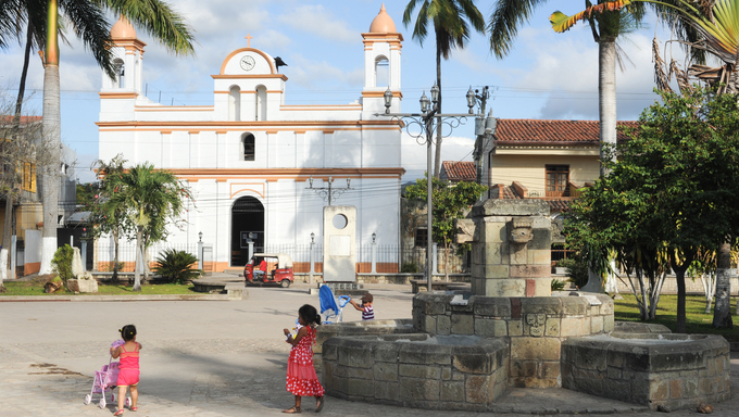 The colonial church of Copan ruinas on Houduras