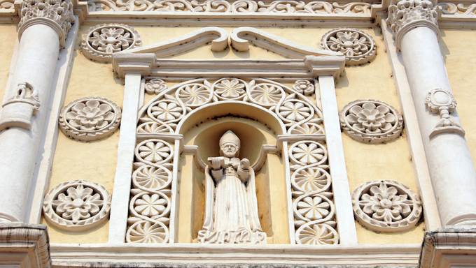 Saint on the facade of cathedral in Comayagua, Honduras