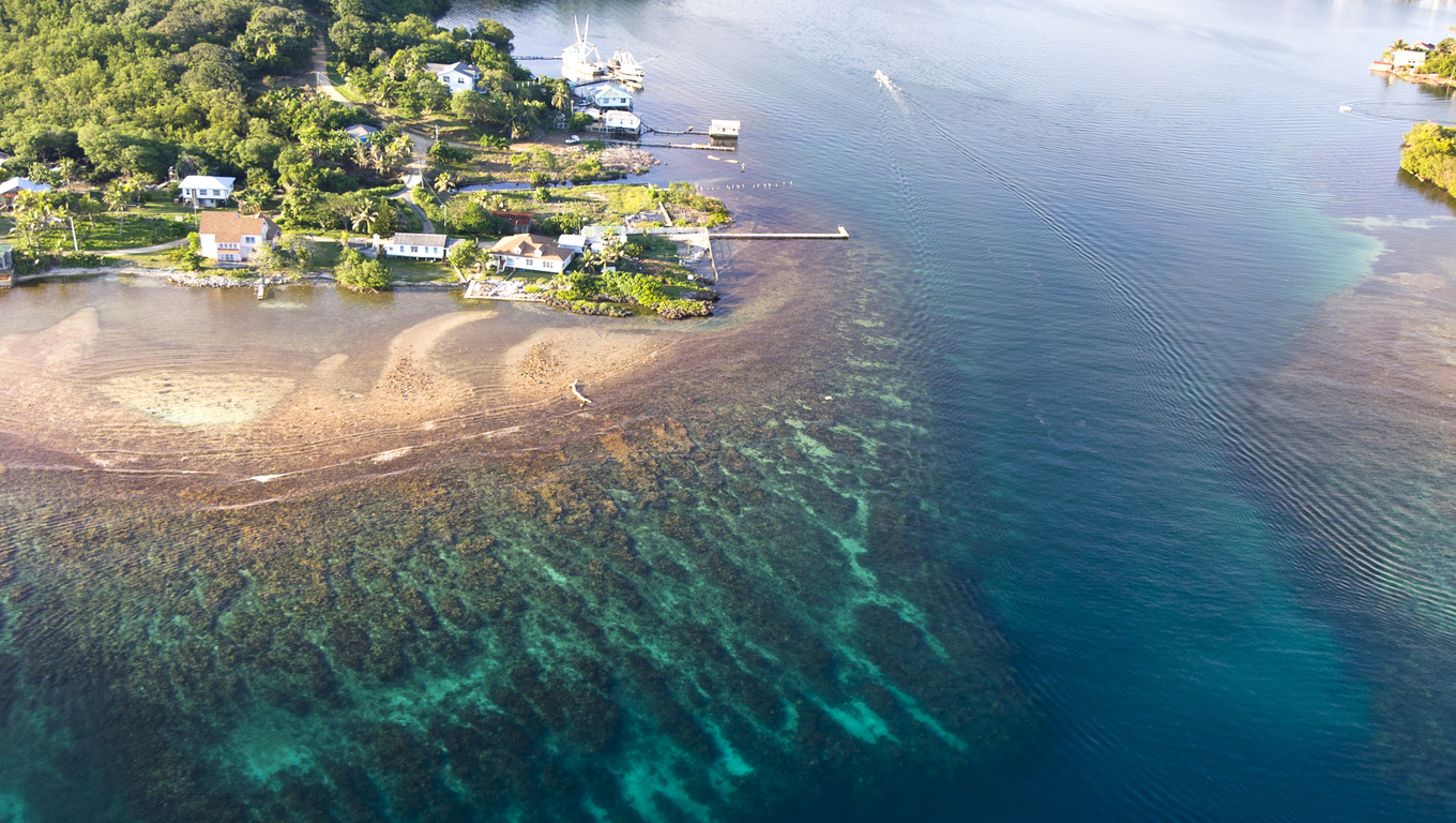 An aerial view of a tropical resort with fantastic reefs and clear water on Roatan Island, Honduras.