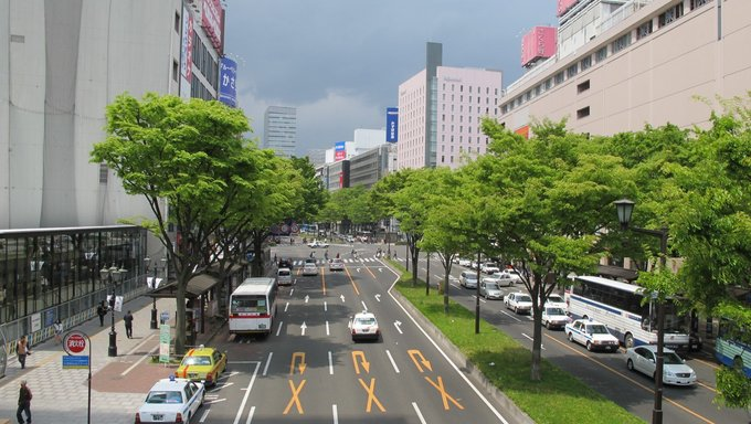 The tree lined main street Aoba Dori in Sendai, Japan right after the tsunami hit.