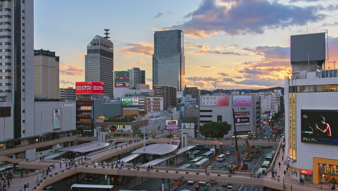The skyline and streets in the center of Sendai.