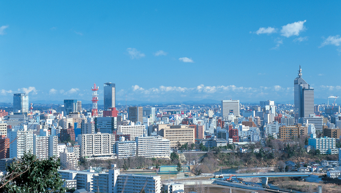 The skyline view of Sendai city.