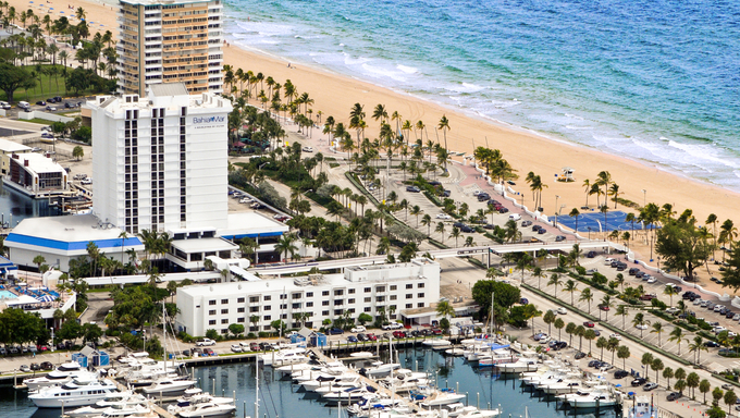 Resort Bahia Mar on Fort Lauderdale Beach overlooking the beach.