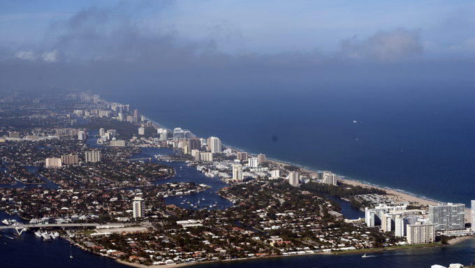 Aerial view of most of Ft. Lauderdale, Florida.