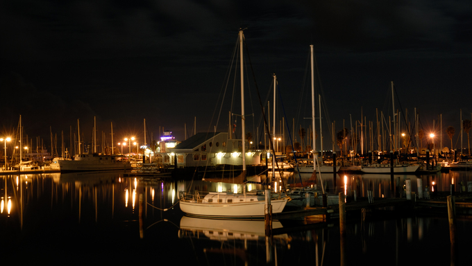 Corpus Christi Marina at night.