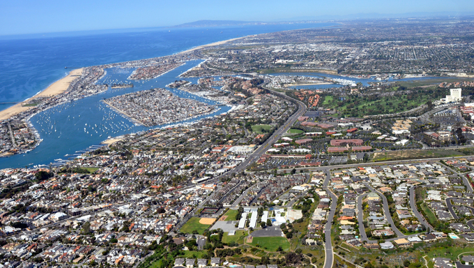 Gorgeous aerial view of Irvine, CA and Newport Beach.