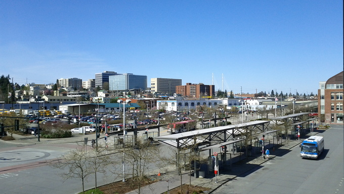 The skyline and city of Everett, Washington from Everett Station.