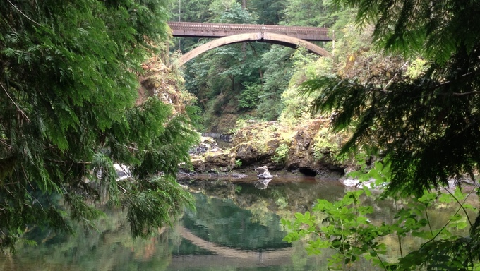Beautiful forest park and bridge near Vancouver, WA.