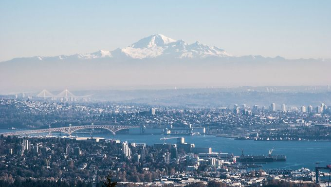 Mt. baker overlooking the city of Vancouver, WA.