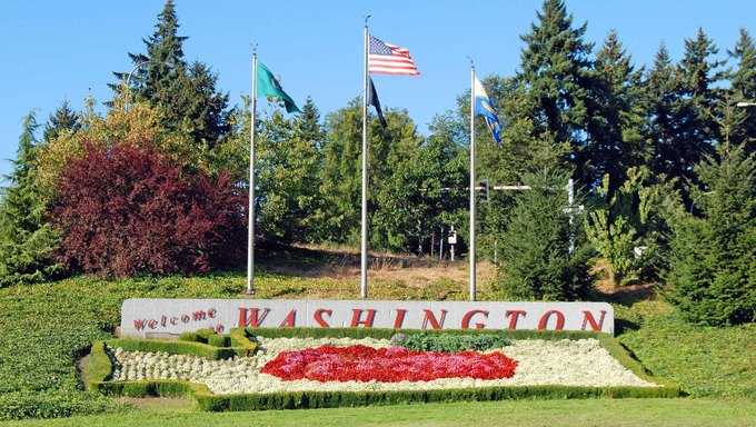 "The ""Welcome to Washington"" sign."