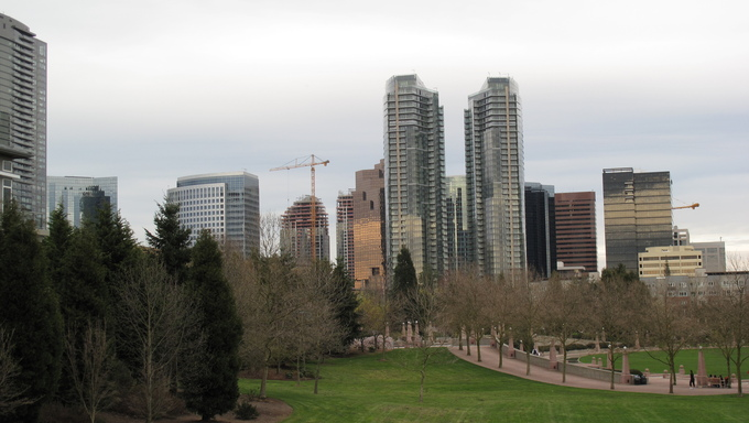 Downtown Skyline of Bellevue. Near Federal Way, WA.
