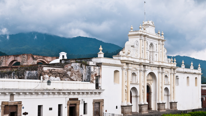 The Cathedral de Santiago in Antigua, Nicaragua is a 17th century cathedral that was severely damaged in the 1773 Guatemala earthquake and has been partially rebuilt.