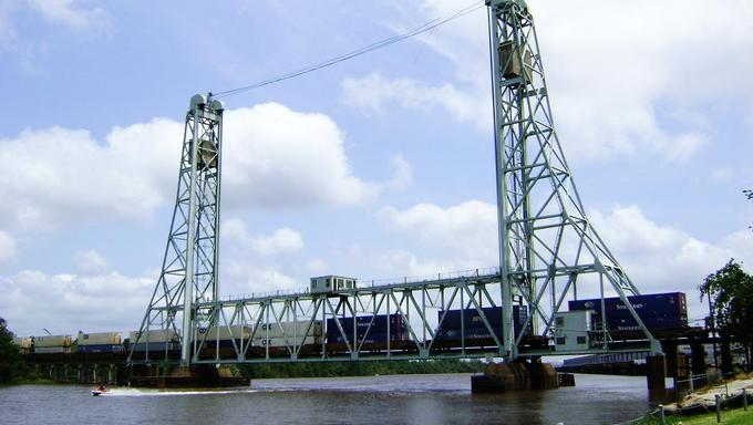 The railroad bridge in River Front Park near Beaumont, Texas.