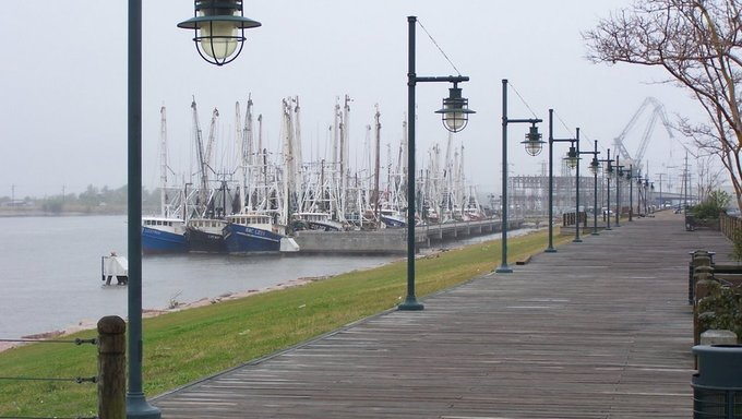 Sail boats docked in Port Arthur, Texas.