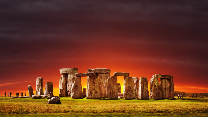Stonehenge at sunset, Wiltshire, England, UK.  Legendary neolithic monument made using stones transported from Wales and built for unknown purpose.