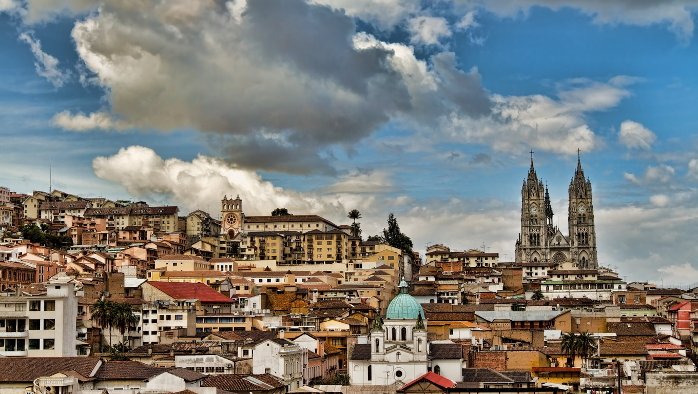 Three churches in historical center of Quito, Ecuador.