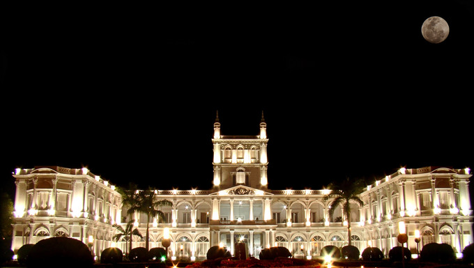 The Government Palace in Asuncion at night.