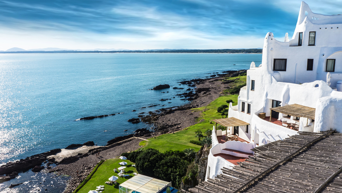 A view of the Casapueblo resort located in Punta Ballena, built by the famous Uruguayan artist Carlos Paez Vilaró.