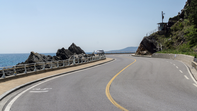 Heonhwa road near Gangneung. A famous scenic road along the eastern coastline of Korea.