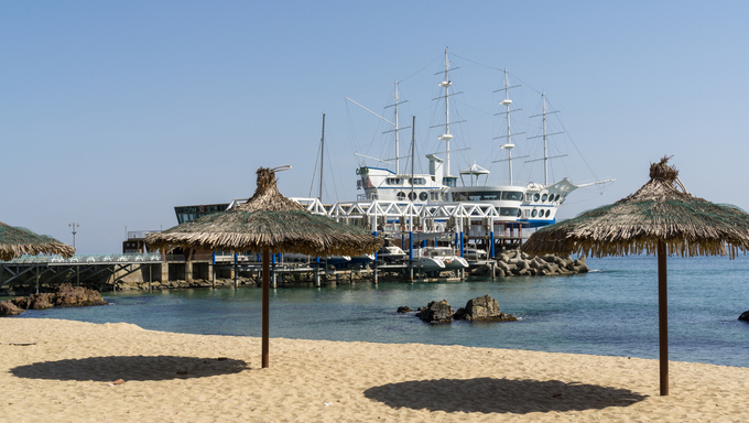 The famous yacht club docked off the beach of Jeongdongjin in Gangneung.