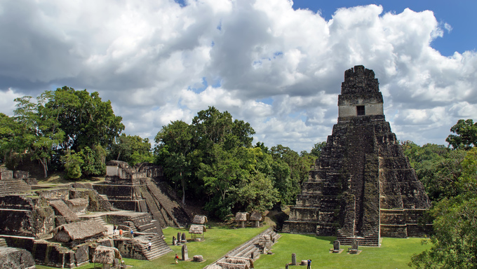 Temple of the Great Jaguar is one of the major structures at Tikal, Guatemala, one of the largest cities and archaeological sites of the pre-Columbian Maya civilization in Mesoamerica.