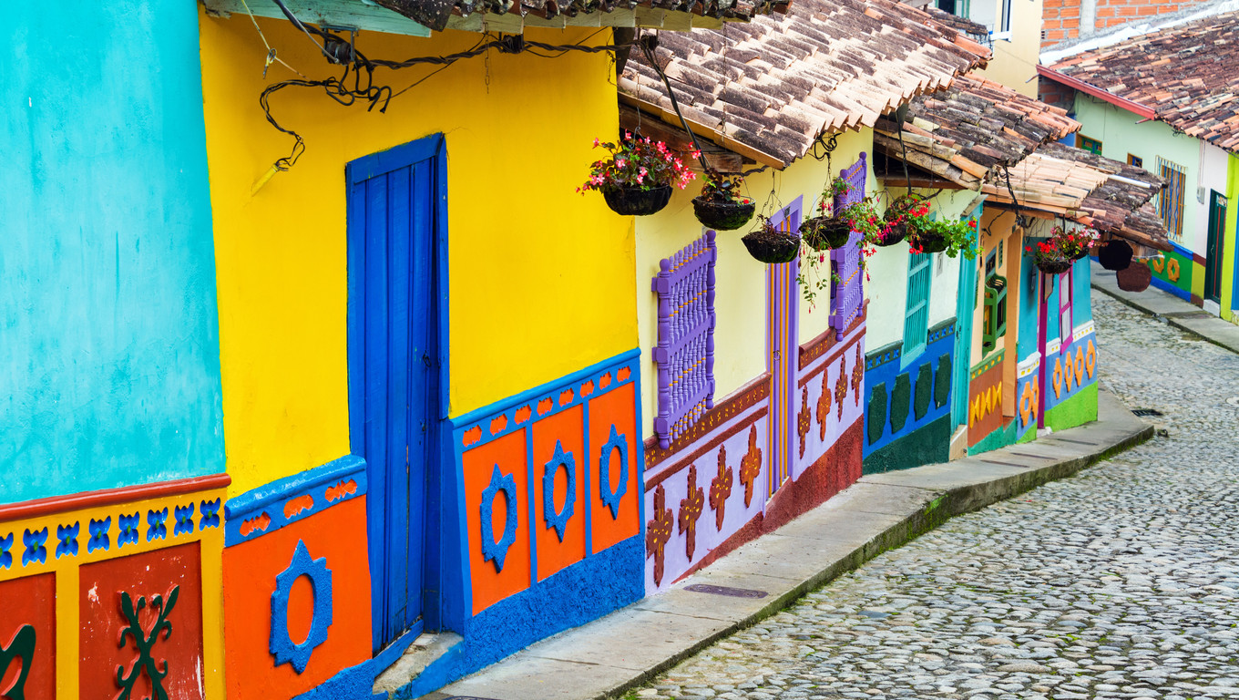 Brightly colored street in town of Guatape in Antioquia, Colombia