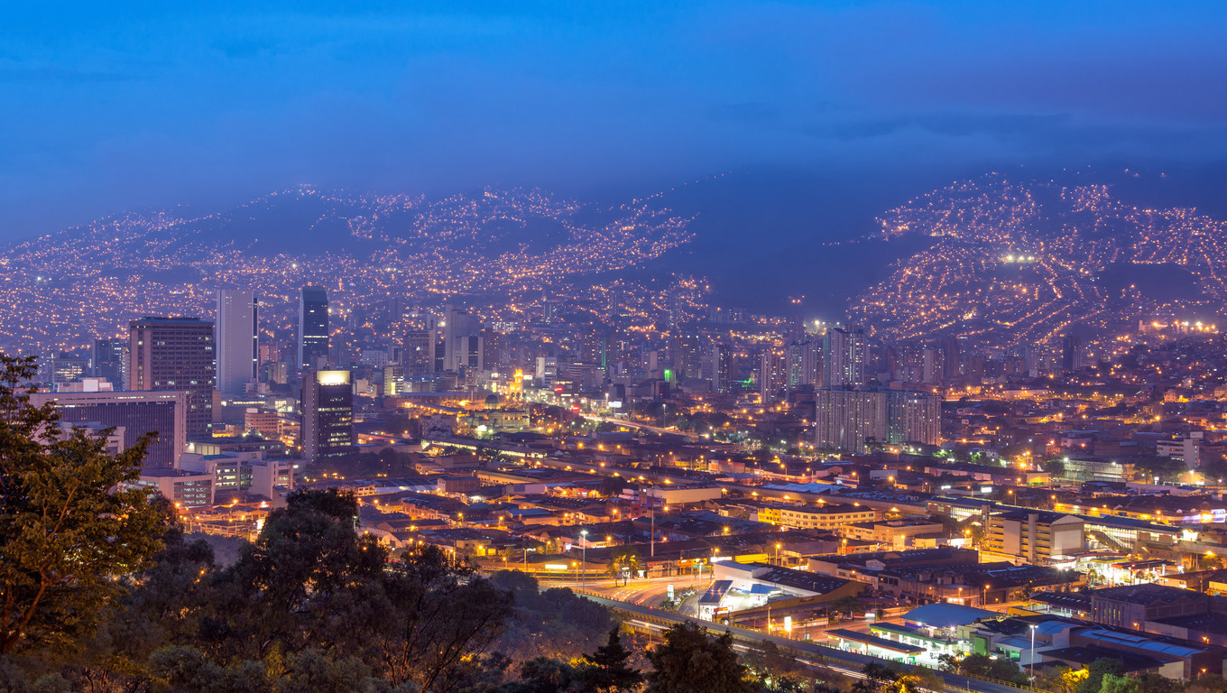 Cityscape of Medellin, Colombia taken at dusk