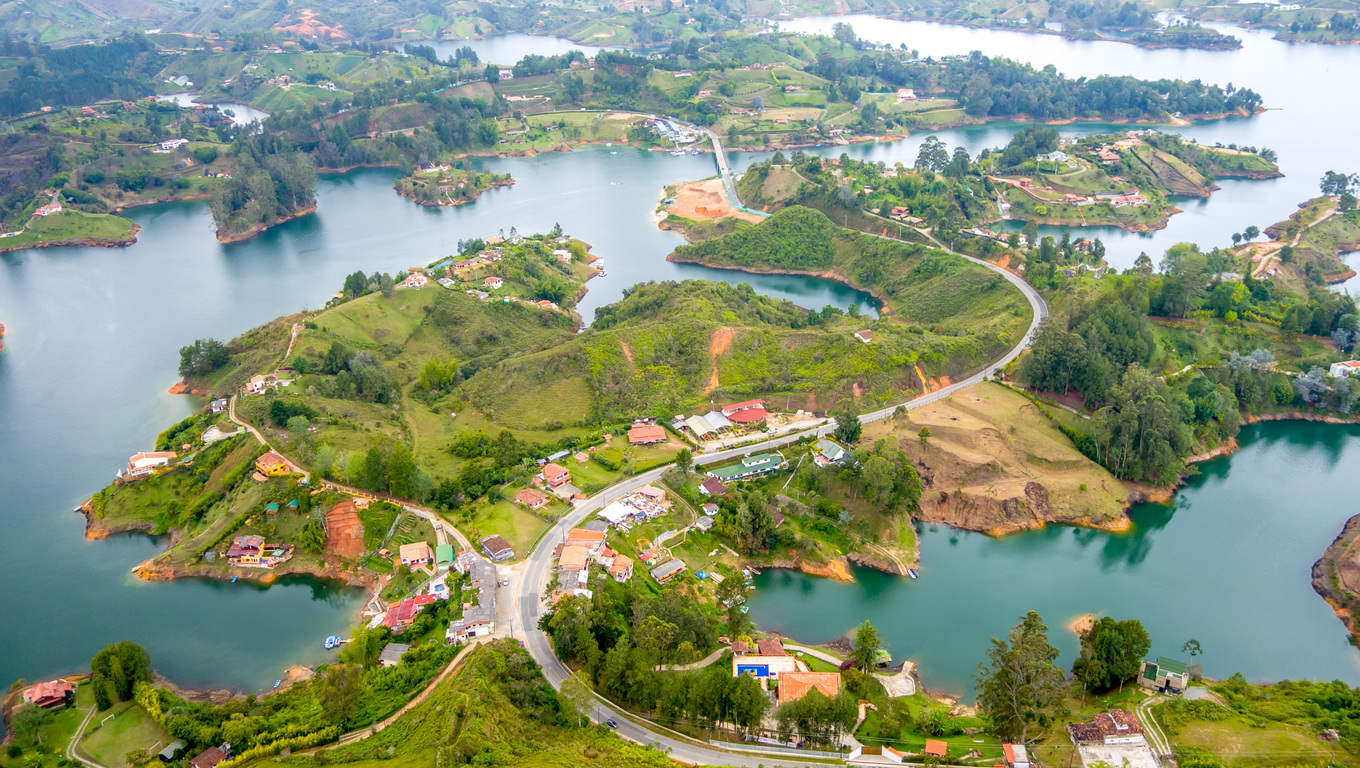 Beautiful breathtaking aerial view of Guatape in Antioquia, Colombia
