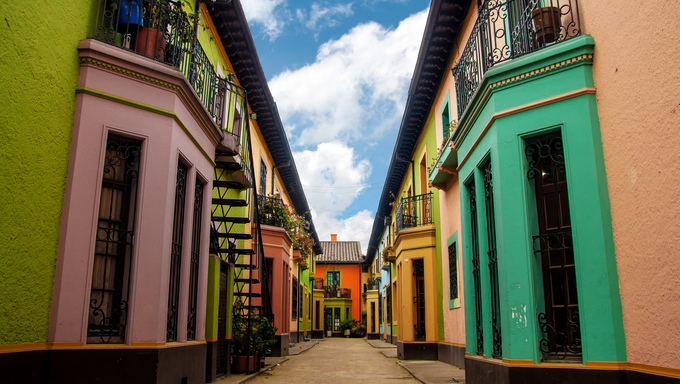 Bright colorful historic buildins in Los Martires neighborhood in Bogota, Colombia
