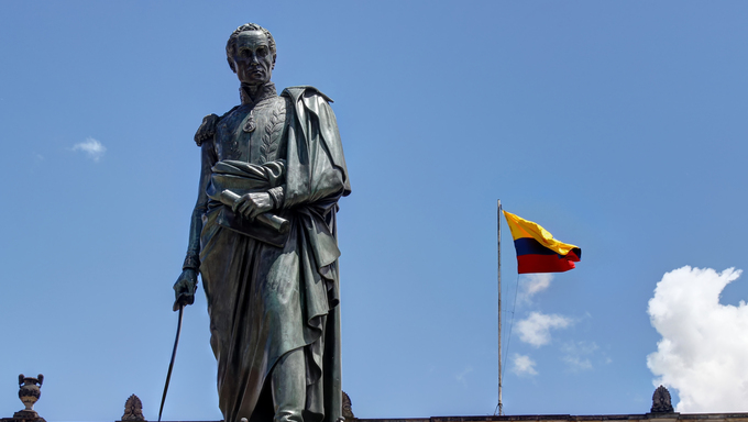 Statue of Simon Bolivar in Bogota with Capitol behind