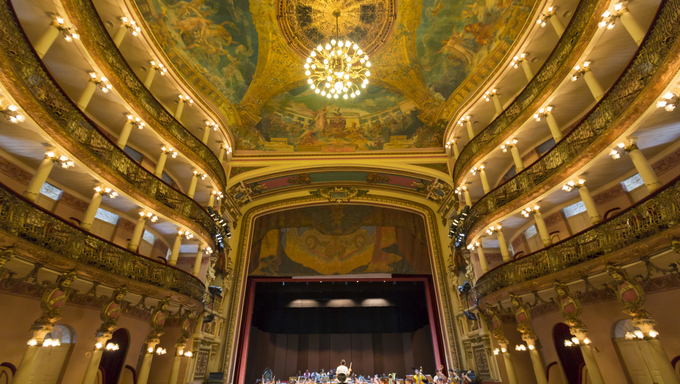 MANAUS, BRAZIL, MARCH 21: Interior of the Amazon Theatre (Portuguese: Teatro Amazonas) with the music school students repeating their daily musical session. Manaus, Amazonas Brazil 2015
