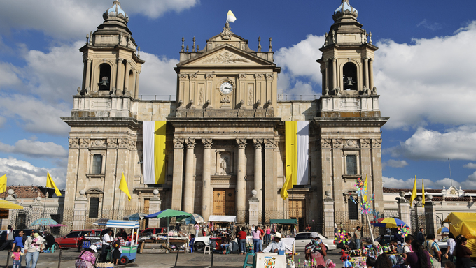 Neo-Classical architecture at the Guatemala Metropolitan Cathedral in Plaza Mayor, Guatemala City.