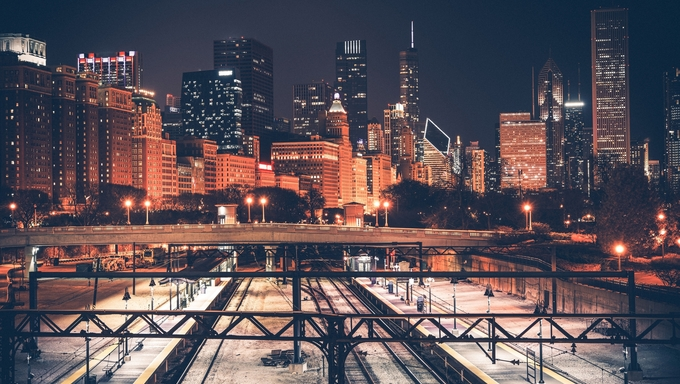 Chicago Skyline and Railroad System at Night. Chicago, Illinois, United States.