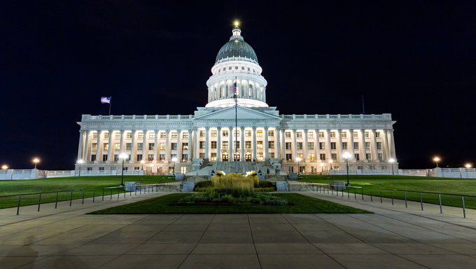 Salt Lake City Capitol at night