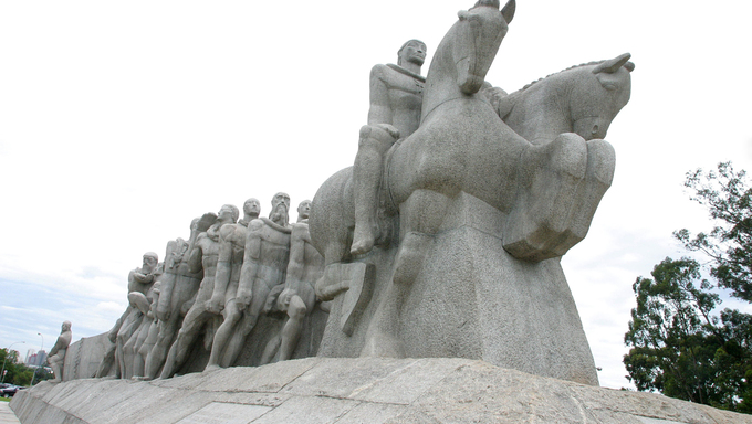 The Bandeiras Monument in Ibirapuera Park, Sao Paulo, Brazil.