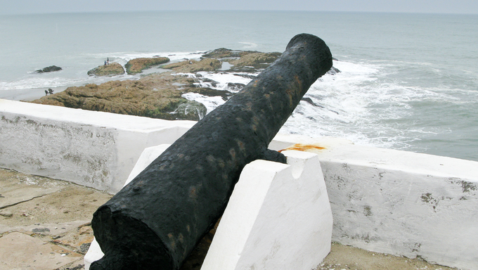 Elmina Castle was the exit port for slaves from Ghana in Africa. This is a rusted cannon