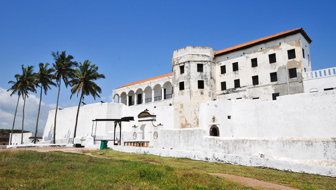 Elmina Castle (also called the Castle of St. George) is located on the Atlantic coast of Ghana west of the capital, Accra. It is a UNESCO World Heritage Site.