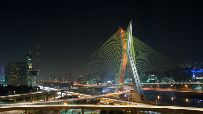 night landscape of a beautiful Bridge in Sao Paulo, Brazil
