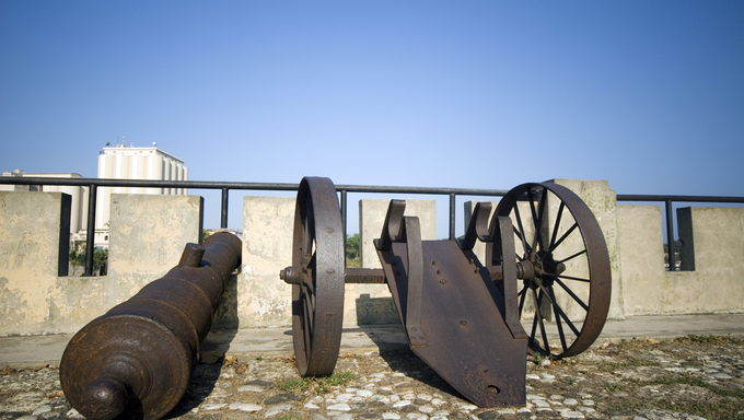 cannons on las damas street santo domingo dominican republic next to relojs del sol