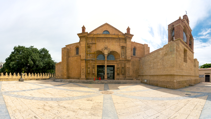 Panorama of Cathedral of Santa Maria la Menor in the Colonial Zone of Santo Domingo, Dominican Republic. It is the oldest cathedral in the Americas, completed in 1540.