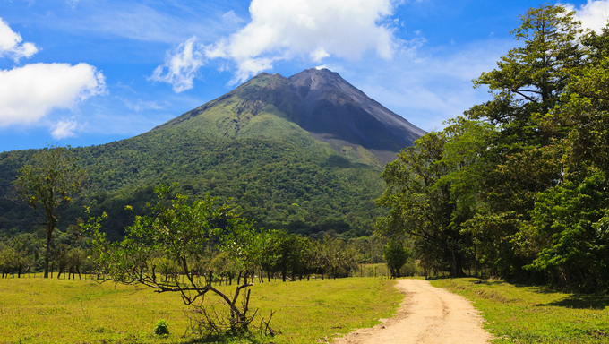 Dirt road leading to the Arenal Volcano in Costa Rica.