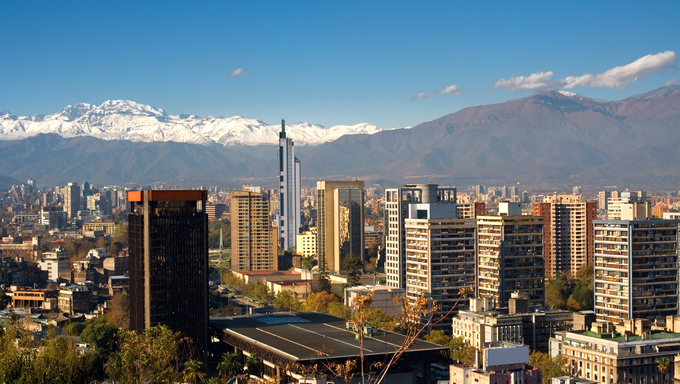 View of Santiago de Chile toward the east part of the city, in a clear day after the rain.  View from Santa Lucia hill in the historic center  of the city.